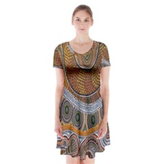 Aboriginal Traditional Pattern Short Sleeve V-neck Flare Dress