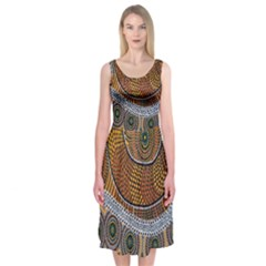 Aboriginal Traditional Pattern Midi Sleeveless Dress