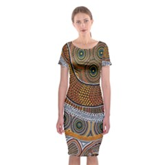 Aboriginal Traditional Pattern Classic Short Sleeve Midi Dress