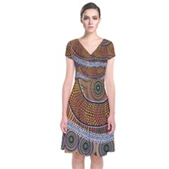 Aboriginal Traditional Pattern Short Sleeve Front Wrap Dress
