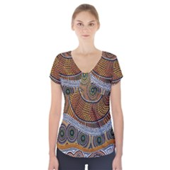 Aboriginal Traditional Pattern Short Sleeve Front Detail Top