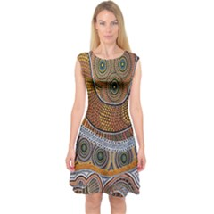 Aboriginal Traditional Pattern Capsleeve Midi Dress
