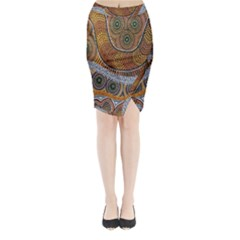 Aboriginal Traditional Pattern Midi Wrap Pencil Skirt
