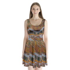 Aboriginal Traditional Pattern Split Back Mini Dress