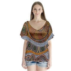 Aboriginal Traditional Pattern Flutter Sleeve Top