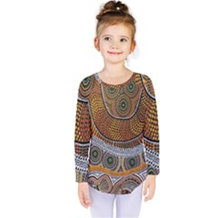 Aboriginal Traditional Pattern Kids  Long Sleeve Tee