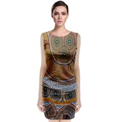 Aboriginal Traditional Pattern Sleeveless Velvet Midi Dress