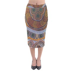 Aboriginal Traditional Pattern Velvet Midi Pencil Skirt