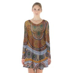Aboriginal Traditional Pattern Long Sleeve Velvet V-neck Dress