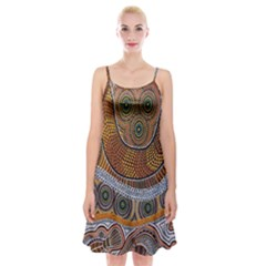 Aboriginal Traditional Pattern Spaghetti Strap Velvet Dress