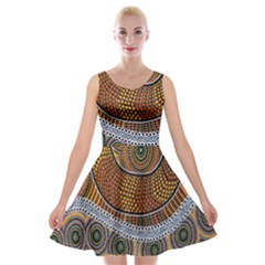 Aboriginal Traditional Pattern Velvet Skater Dress
