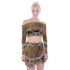 Aboriginal Traditional Pattern Off Shoulder Top with Skirt Set
