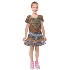 Aboriginal Traditional Pattern Kids  Short Sleeve Velvet Dress