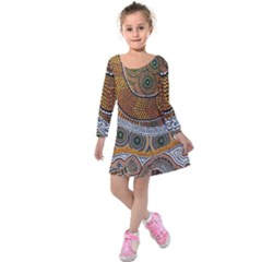 Aboriginal Traditional Pattern Kids  Long Sleeve Velvet Dress