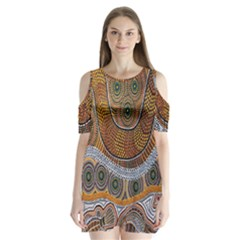 Aboriginal Traditional Pattern Shoulder Cutout Velvet  One Piece