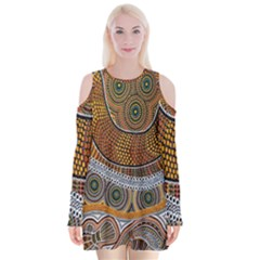 Aboriginal Traditional Pattern Velvet Long Sleeve Shoulder Cutout Dress
