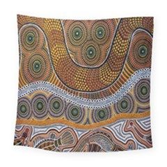 Aboriginal Traditional Pattern Square Tapestry (Large)