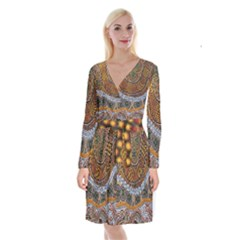 Aboriginal Traditional Pattern Long Sleeve Velvet Front Wrap Dress