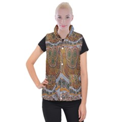Aboriginal Traditional Pattern Women s Button Up Puffer Vest