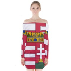 Coat of Arms of Hungary Long Sleeve Off Shoulder Dress