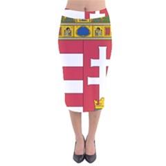 Coat of Arms of Hungary Velvet Midi Pencil Skirt
