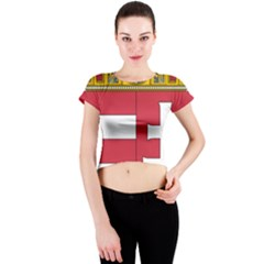 Coat of Arms of Hungary  Crew Neck Crop Top