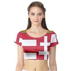 Coat of Arms of Hungary  Short Sleeve Crop Top (Tight Fit)