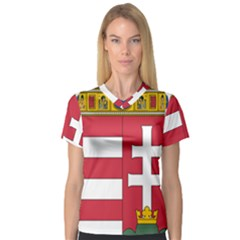 Coat of Arms of Hungary  Women s V-Neck Sport Mesh Tee