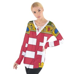 Coat of Arms of Hungary  Women s Tie Up Tee