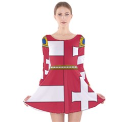 Coat of Arms of Hungary  Long Sleeve Velvet Skater Dress