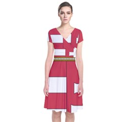 Coat of Arms of Hungary  Short Sleeve Front Wrap Dress