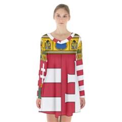 Coat of Arms of Hungary  Long Sleeve Velvet V-neck Dress