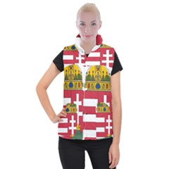Coat of Arms of Hungary  Women s Button Up Puffer Vest