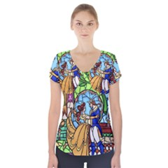 Happily Ever After 1   Beauty And The Beast Short Sleeve Front Detail Top