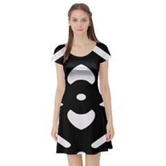 Black And White Pattern Background Short Sleeve Skater Dress