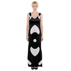 Black And White Pattern Background Maxi Thigh Split Dress