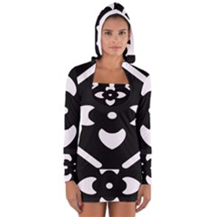 Black And White Pattern Background Women s Long Sleeve Hooded T-shirt