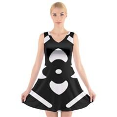 Black And White Pattern Background V-Neck Sleeveless Skater Dress