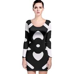 Black And White Pattern Background Long Sleeve Velvet Bodycon Dress