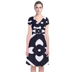 Black And White Pattern Background Short Sleeve Front Wrap Dress