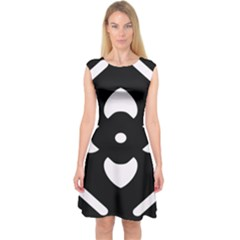 Black And White Pattern Background Capsleeve Midi Dress