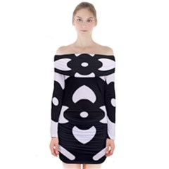 Black And White Pattern Background Long Sleeve Off Shoulder Dress