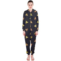 Shapes Abstract Triangles Pattern Hooded Jumpsuit (ladies)