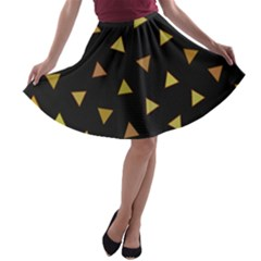 Shapes Abstract Triangles Pattern A Line Skater Skirt