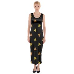 Shapes Abstract Triangles Pattern Fitted Maxi Dress