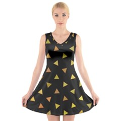 Shapes Abstract Triangles Pattern V Neck Sleeveless Skater Dress