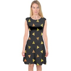 Shapes Abstract Triangles Pattern Capsleeve Midi Dress
