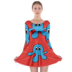 Creature Forms Funny Monster Comic Long Sleeve Skater Dress