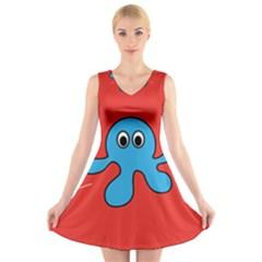 Creature Forms Funny Monster Comic V-Neck Sleeveless Skater Dress