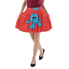 Creature Forms Funny Monster Comic A-Line Pocket Skirt